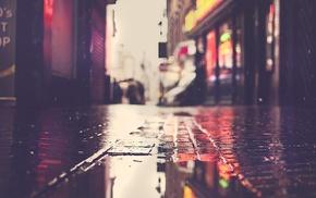 puddle, street, rain