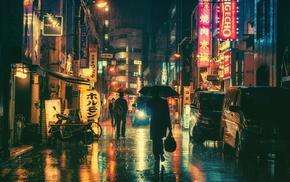 Japan, rain, night