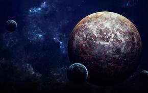 stars, moon, planet, space art, galaxy