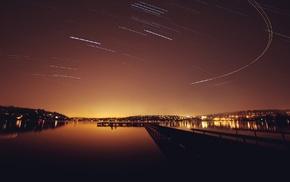 stars, lake