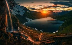 Sun, landscape, lake