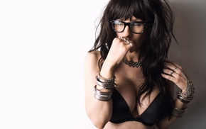 black bras, girl, walls, bracelets, portrait, girl with glasses