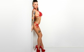 tattoos, Christy Mack, brunette, red bikinis, high heels, big boobs