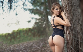 girl, one, piece swimsuit, model, back, trees