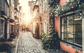 Sun, street, urban, cobblestone, sunlight