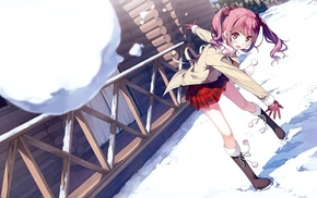 snow, Kantoku, Afterschool of the 5th year, pink hair, Kurumi Kantoku, anime girls