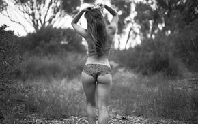 monochrome, panties, girl