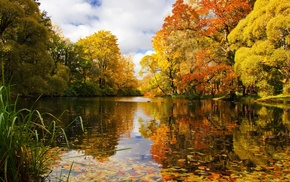 park, lake, landscape
