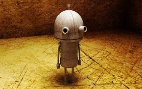 digital art, robot, simple, room, scratches, Machinarium