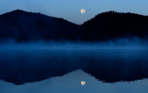 moon, lake, water, trees, mist, landscape