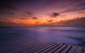 water, sea, nature, rock, planks, horizon