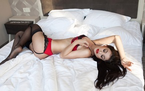 model, stockings, closed eyes, Ekaterina Shliundt, in bed, garter belt