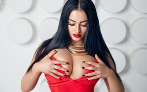 big boobs, black hair, girl, portrait, model, hand on  boobs