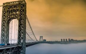 bridge, mist