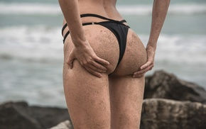 sand, sea, black, black bikinis, rock, hands on ass
