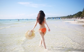 long hair, Asian, back, beach, hat, walking