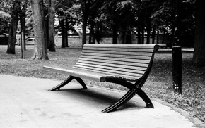 park, monochrome, bench