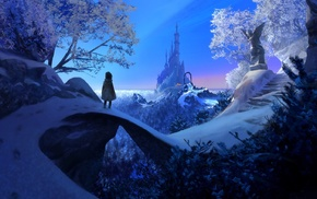 Kingdom, winter, angel, little girl, snow