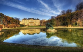 Paris, HDR, trees, sculpture, nature, lake