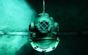 simple, green, metal, screw, smoke, helmet