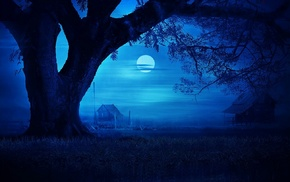 blue, landscape, hut, Moon, field, mist