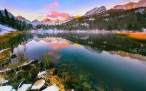 snowy peak, landscape, mountains, trees, sunset, reflection