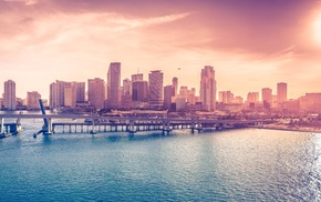 bridge, bay, city, Miami