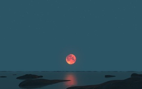 nature, landscape, Red moon, Moon