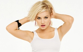 model, Elisha Cuthbert, hands in hair, looking at viewer, blonde, girl