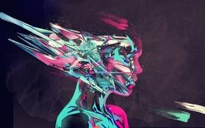 digital art, abstract, artwork, profile, face, girl