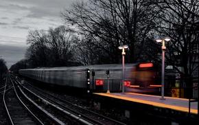 motion blur, selective coloring, train, light trails