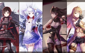 anime, anime girls, skirt, Weiss Schnee, collage, Ruby Rose character