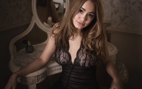 sitting, black dress, girl, see, through clothing, model