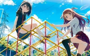 anime, red tie, playground, Kantoku, anime girls, plaid skirt
