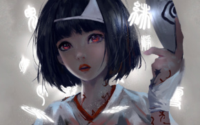 Asian, short hair, Nora Noragami, anime girls, red eyes, anime