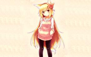 anime girls, blonde, animal ears, red eyes, smiling, kitsunemimi