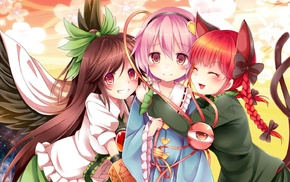 Kaenbyou Rin, Reiuji Utsuho, Touhou, anime, Komeiji Satori