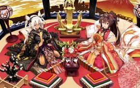 Kantai Collection, traditional clothing, Musashi KanColle, kimono, anime girls, Yamato KanColle