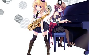 saxaphone, thigh, highs, original characters, anime, anime girls