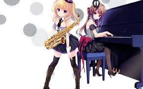 saxaphone, thigh, highs, original characters, anime, anime girls