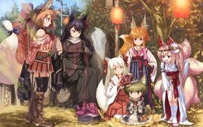 anime girls, original characters, animal ears, anime, kitsunemimi