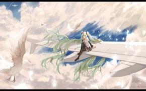 twintails, Vocaloid, long hair, birds, Hatsune Miku, anime