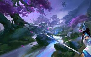 cherry trees, samurai, Ninja, temple