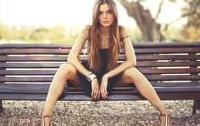 model, sitting, hair, park, heels, legs