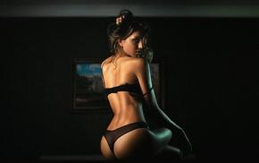 lingerie, black bras, girl, ass, black panties, rear view