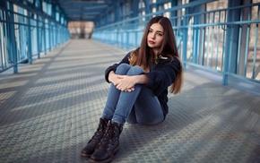 brunette, girl outdoors, holding knees, looking away, bridge, brown eyes