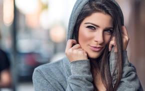 depth of field, smirk, girl, brunette, face, hood