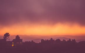 minimalism, red, sky, orange