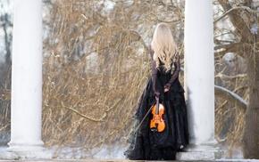 classy, girl, black, model, winter, violin