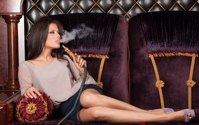 heels, hair, legs, brunette, Hookah, smoking